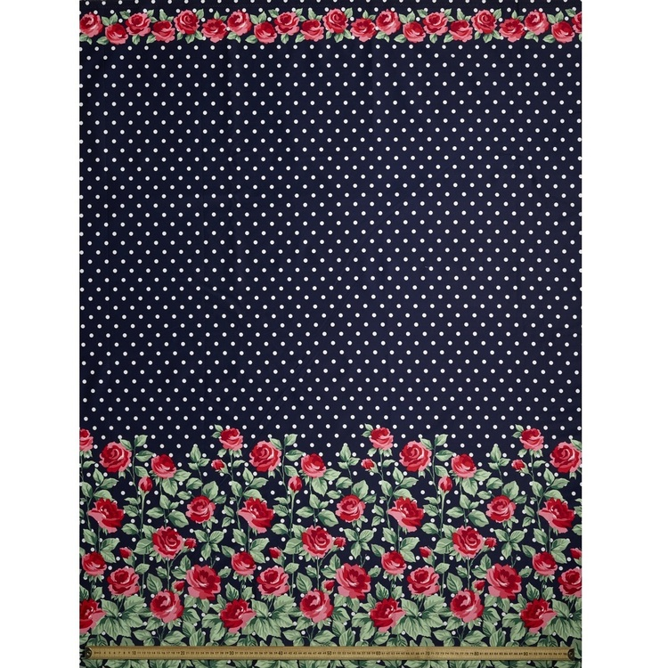 Gertie Roses Border Printed Cotton Sateen Fabric