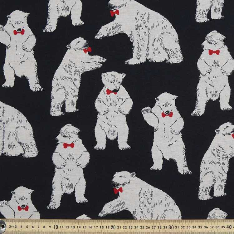 Linea Bears Linen Blend Natural & Red 112 cm
