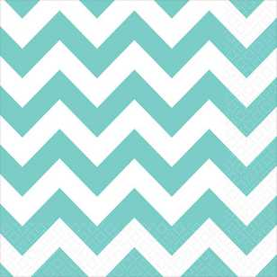Amscan Chevron Robins Egg Blue Beverage Napkins