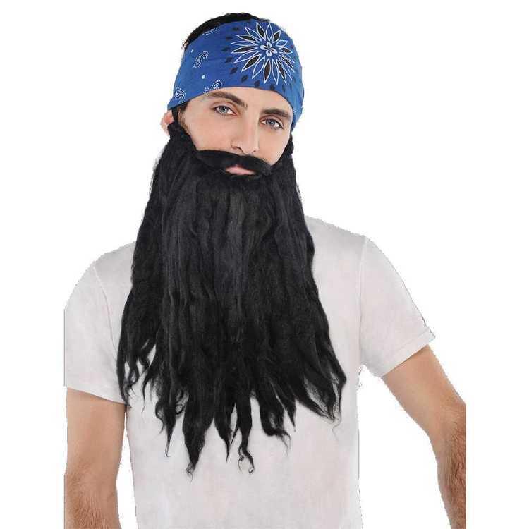 Amscan Black Plush Moustache & Beard