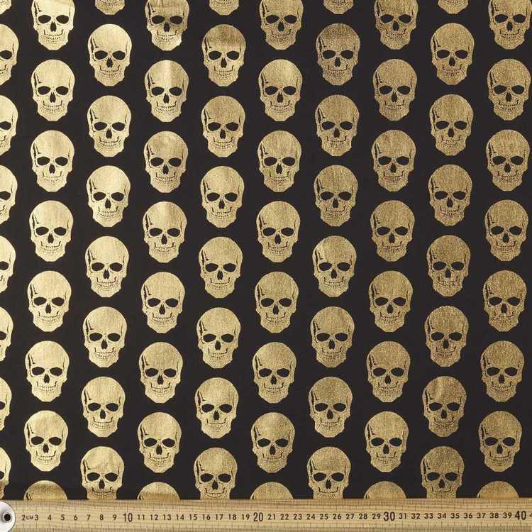 Metallics Foil Skulls Printed Poplin