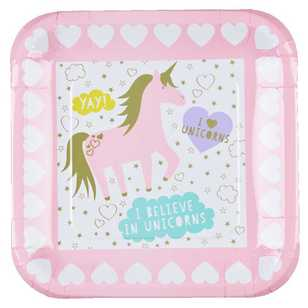 Unicorn Square Paper Plate