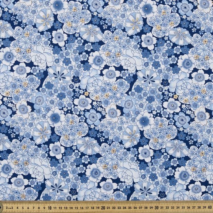 Blue Floral Printed Poplin