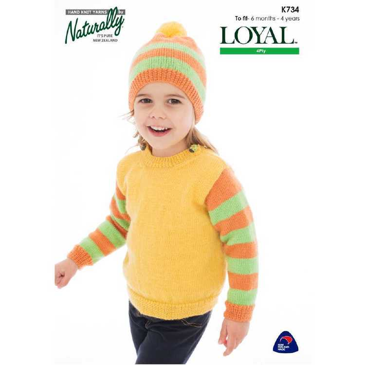 Naturally Loyal 4 Ply Girls Jumper Hat K734 Pattern Book  Multicoloured