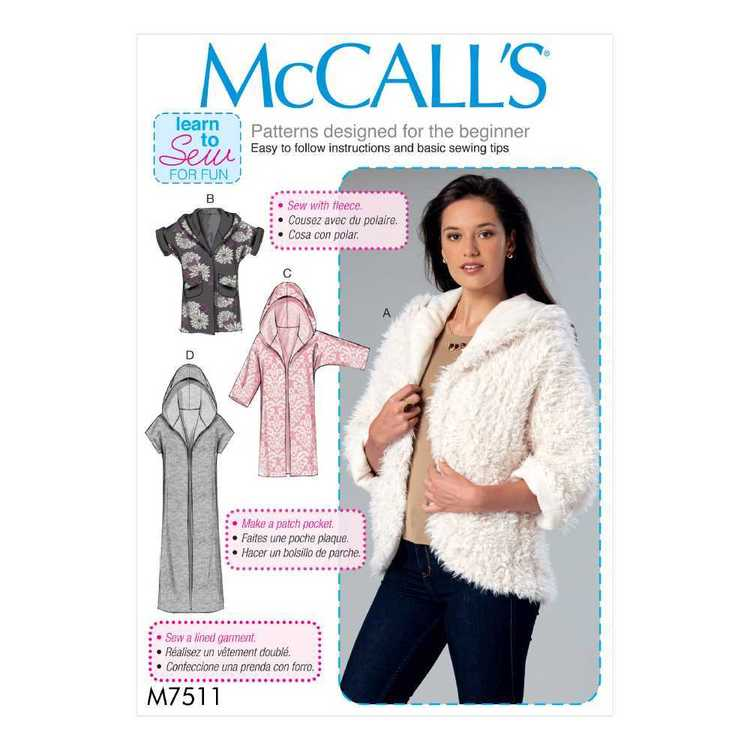 McCall's Pattern M7511 Misses' Open-Front Jackets with Shawl Collar and Hood