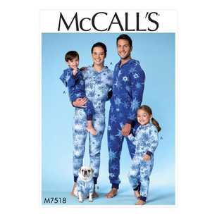 McCall's Pattern M7518 Men's/Misses'/Boys'/Girls'/Children's Hooded Jumpsuits and Dog Coat with Kangaroo Pocket