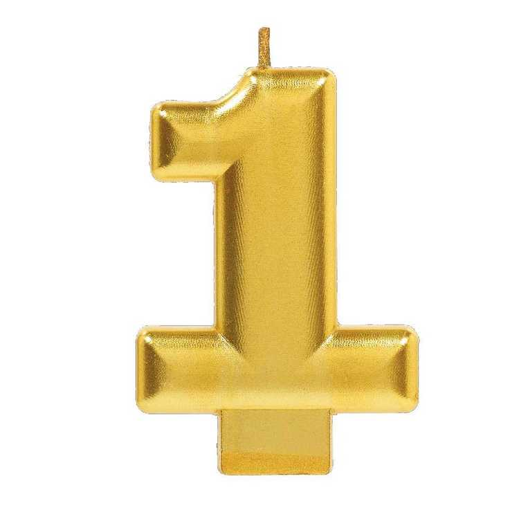 Amscan No. 1 Gold Metallic Numeral Candle