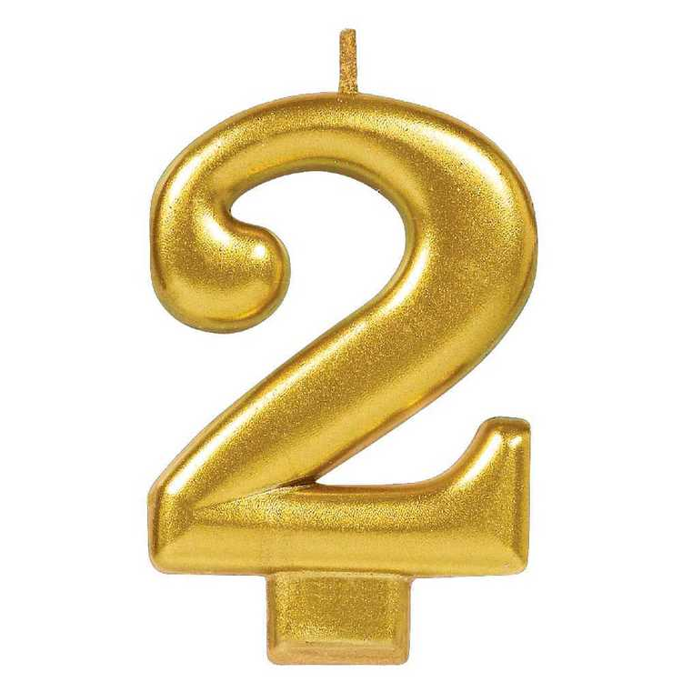 Amscan No. 2 Gold Metallic Numeral Candle