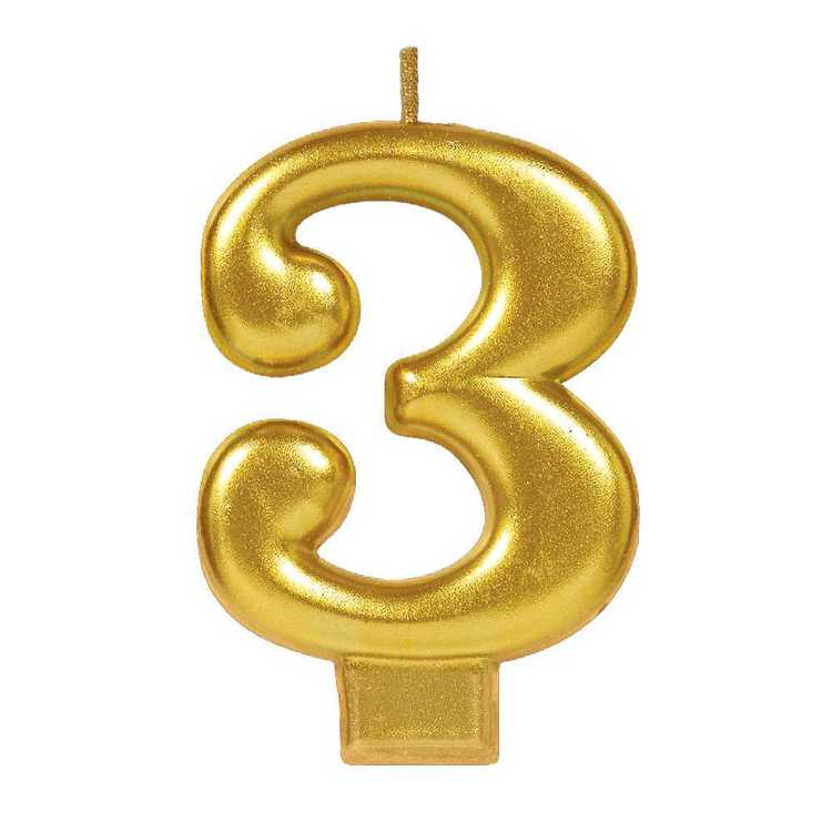 Amscan No. 3 Gold Metallic Numeral Candle