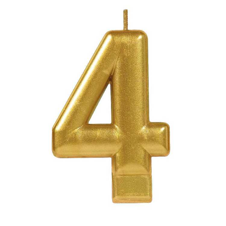 Amscan No. 4 Gold Metallic Numeral Candle