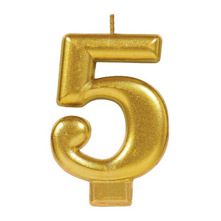 Amscan No. 5 Gold Metallic Numeral Candle