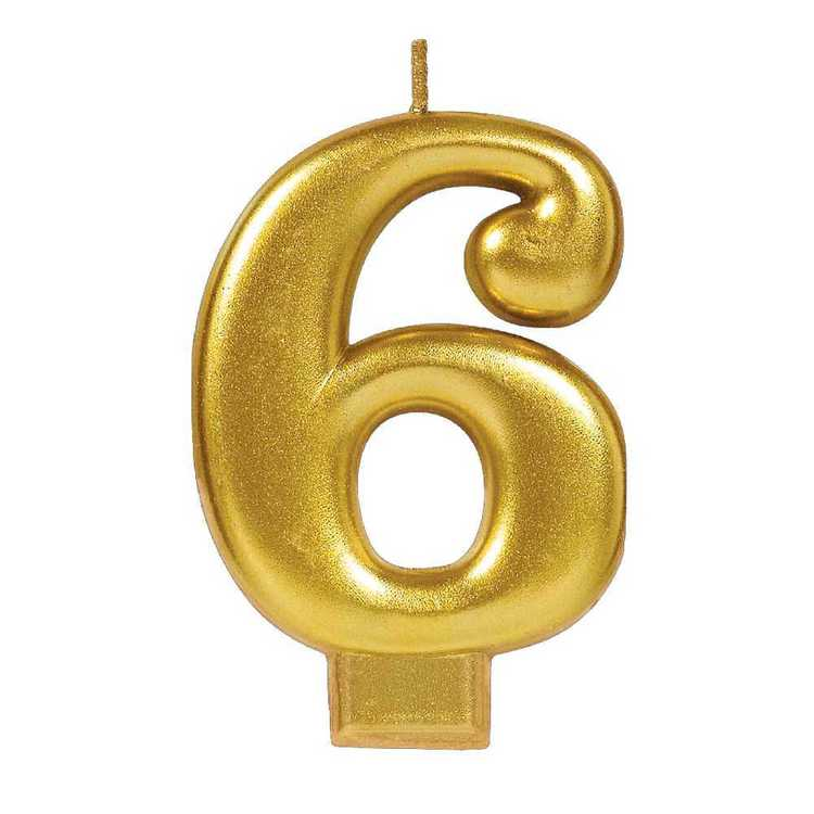 Amscan No. 6 Gold Metallic Numeral Candle
