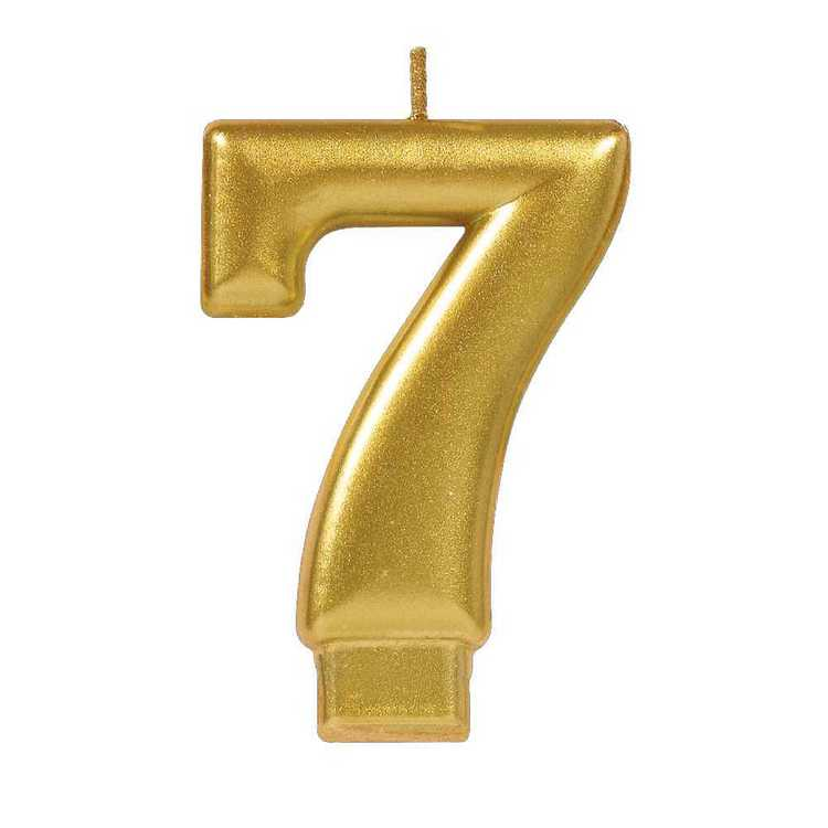 Amscan No. 7 Gold Metallic Numeral Candle