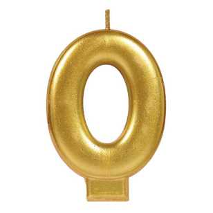 Amscan No. 0 Gold Metallic Numeral Candle