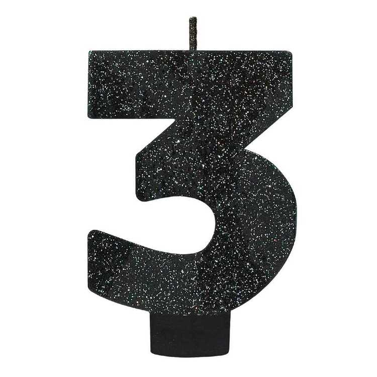 Amscan No. 3 Black Glitter Numeral Candle