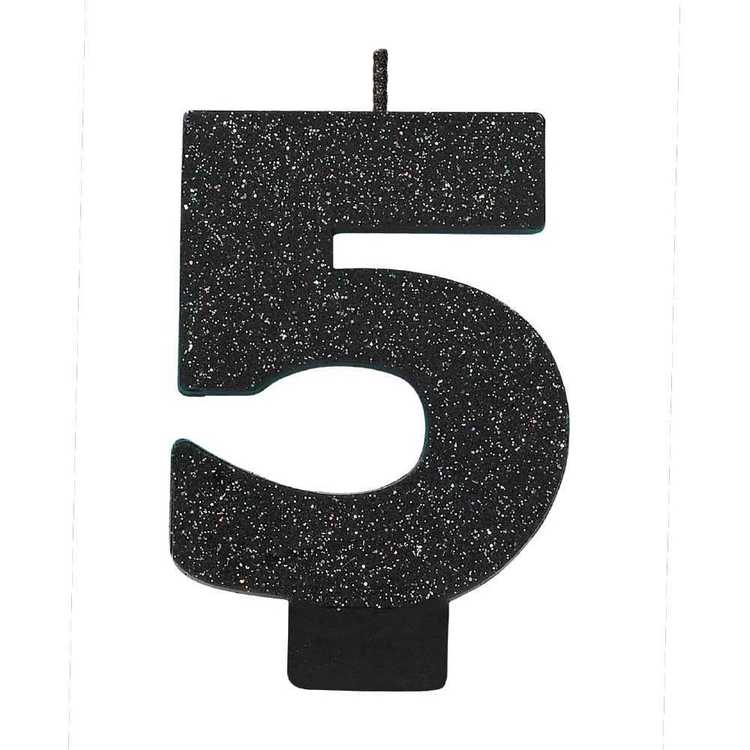 Amscan No. 5 Black Glitter Numeral Candle