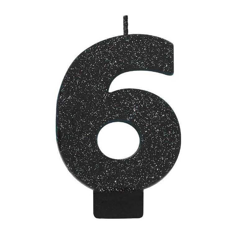 Amscan No. 6 Black Glitter Numeral Candle