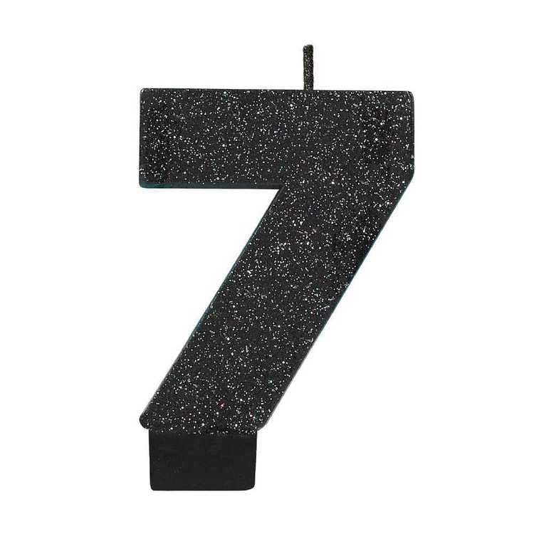Amscan No. 7 Black Glitter Numeral Candle