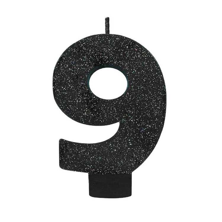 Amscan No. 9 Black Glitter Numeral Candle