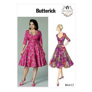 Butterick B6412 Misses' Sweetheart-Neckline, Full-Skirted Dress