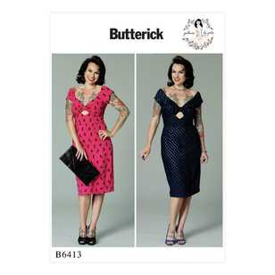 Butterick B6413 Misses' Gathered-Front, Keyhole Dress