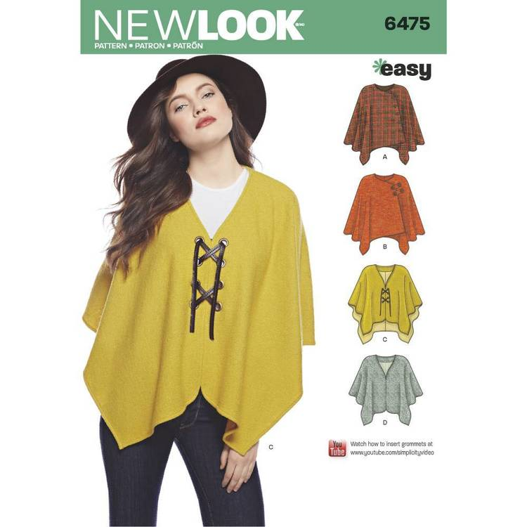 New Look Pattern 6475 Misses' Easy Ponchos & Capes