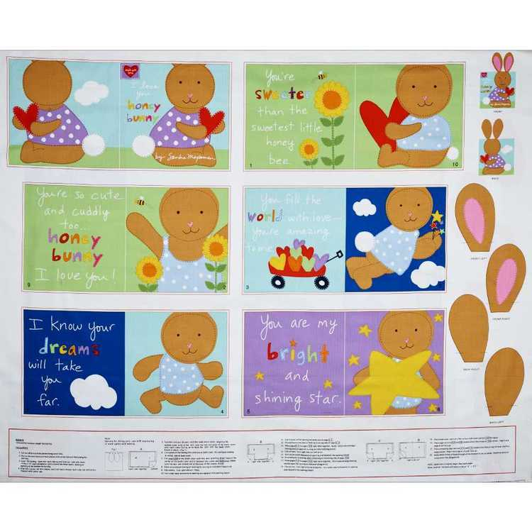 I Love U Hunny Bunny Se Back Panel Multicoloured 90 x 112 cm