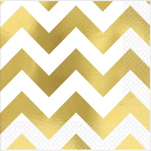 Amscan Gold Chevron Hot Stamp Beverage Napkin
