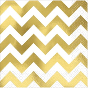 Amscan Gold Chevron Hot Stamp Lunch Napkin