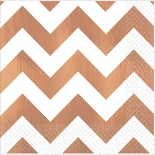Amscan Rose Gold Chevron Hot Stamp Beverage Napkin