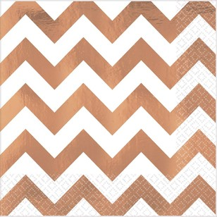 Amscan Rose Gold Chevron Hot Stamp Lunch Napkin