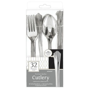 Amscan Silver Look Assorted Cutlery