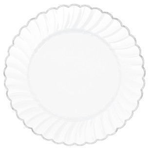 Amscan White With Silver Trim Scalloped Plate