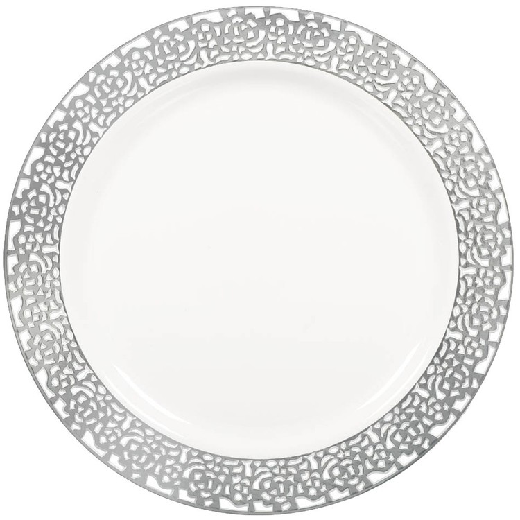"""Amscan White With Silver Trim 7"""" Plate"""