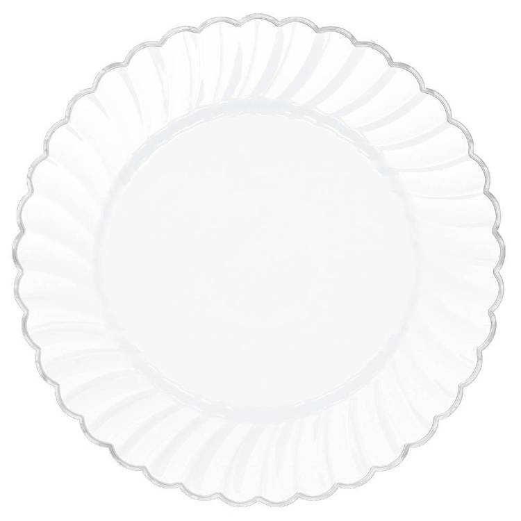 "Amscan White With Silver Trim 7"" Scalloped Plate"