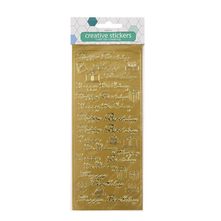 Arbee Happy Birthday With Cakes Golden Stickers Sheet