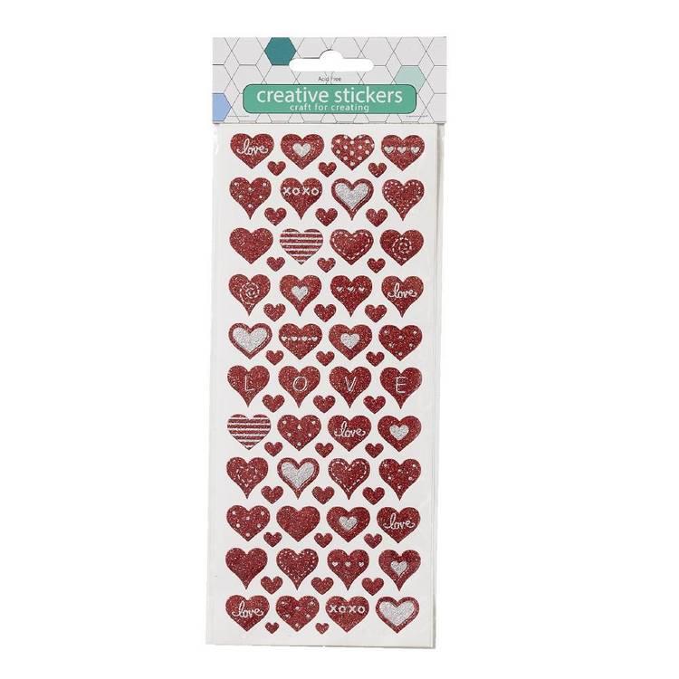 Arbee Red Heart Glitter Sticker