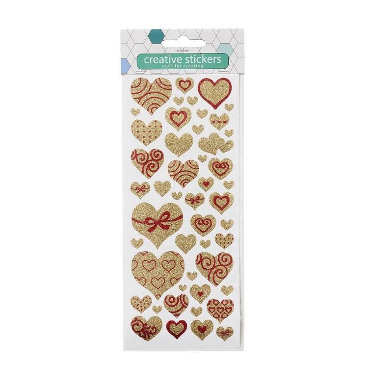 Arbee Gold Heart Glitter Sticker