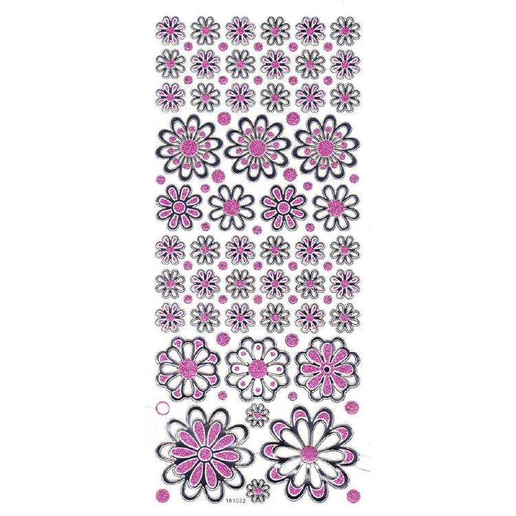 Arbee Flowers Mix Glitter Sticker Multicoloured
