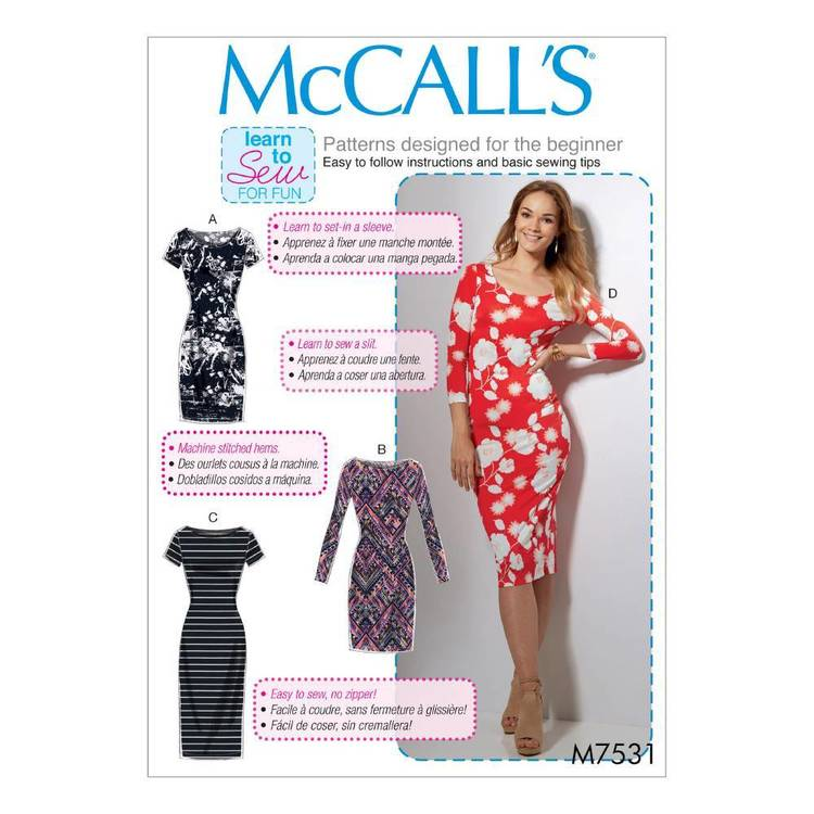 McCall's Pattern M7531 Misses' Knit Bodycon Dresses