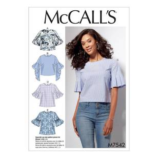 McCalls M7542 Misses' Tops with Trumpet, Tulip, Pleated or Bubble Sleeves