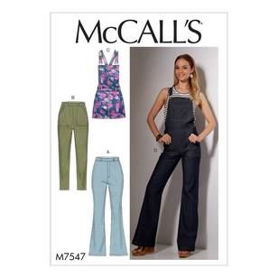 McCall's Pattern M7547 Misses' Flared Jeans and Overalls