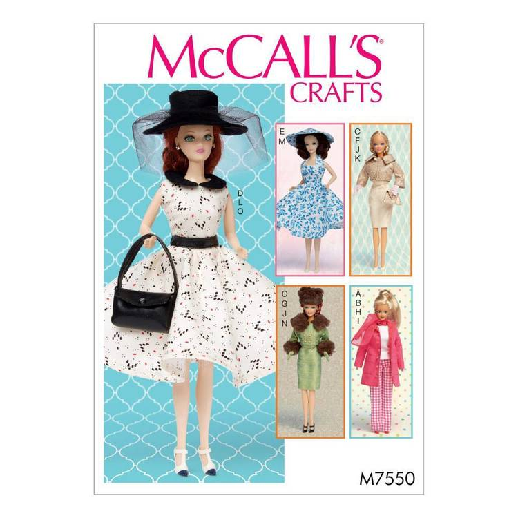 "McCall's Pattern M7550 Retro-Style Clothes and Accessories for 111/2"" Doll"