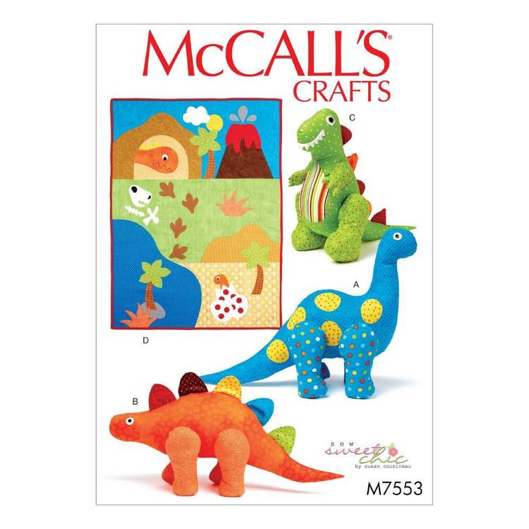 McCall's Pattern M7553 Dinosaur Plush Toys and Appliqued Quilt