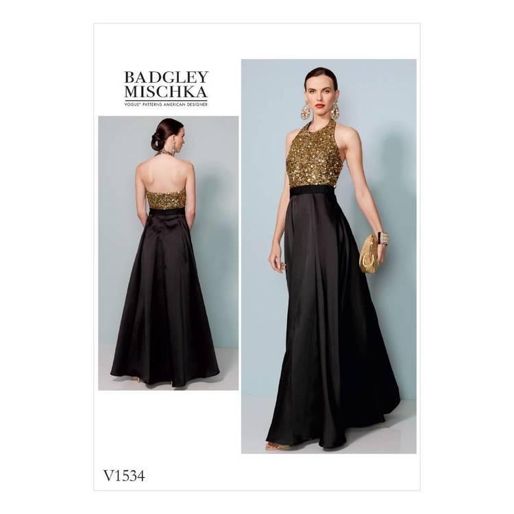 Vogue Pattern V1534 Misses Halter-Neck, Pleated Floor Length Dress