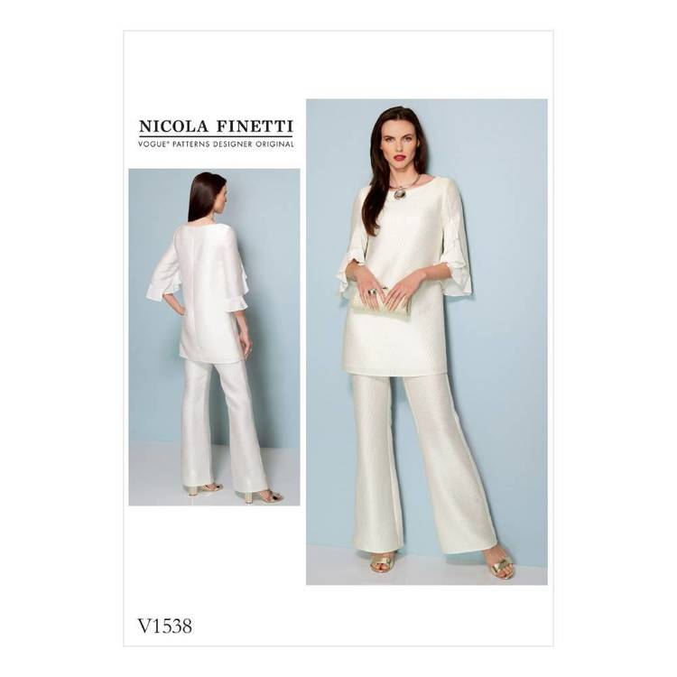 Vogue Pattern V1538 Misses Ruffle-Sleeve Tunic And Boot cut Jumpsuit