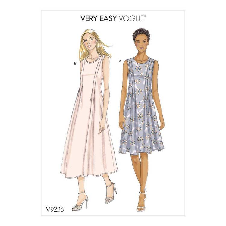 Vogue Pattern V9236 Misses Released-Pleat Fit-And-Flare Dresses