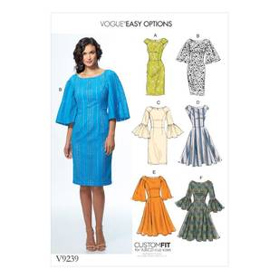 Vogue Pattern V9239 Misses Princess Seam Dresses With Sleeve And Skirt Variations