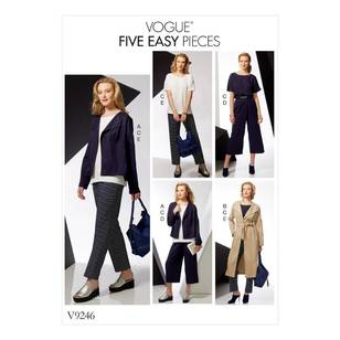 Vogue Pattern V9246 Misses Drop-Shoulder jackets, Belts, Top With Yokes, And Pull-On Pants