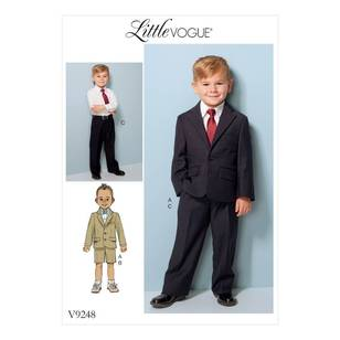 Vogue Pattern V9248 Children's/ Boys Two-Button Jacket And Flat-Front Shorts And Pants